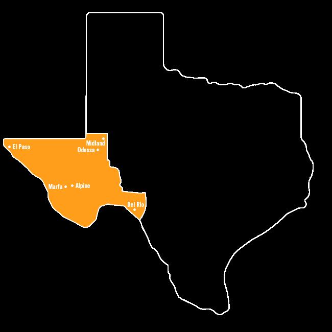 Big Bend Country   Alpine, Del Rio, El Paso, Midland, Marfa